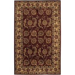 Hand-tufted Mandara Burgundy New Zealand Wool Rug (5' x 7'6)