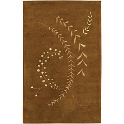 Hand-Tufted Mandara Brown/Cream/Tan New Zealand Wool Rug (5' x 7'6)