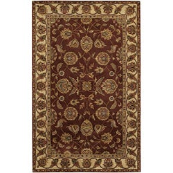 "Hand-Tufted Floral Mandara Burgundy New Zealand Wool Rug (5' x 7'6"")"
