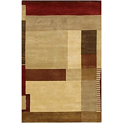"Hand-Tufted Mandara Multicolored New Zealand Plush Wool Rug (5' x 7'6"")"
