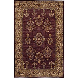 "Traditional Hand-Tufted Mandara Burgundy New Zealand Wool Rug (5' x 7'6"")"