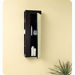 Fresca Espresso Bathroom Linen Cabinet with Large Mirror Door