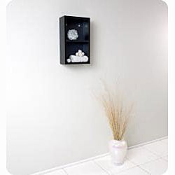 Fresca Black Open Storage Bathroom Linen Cabinet