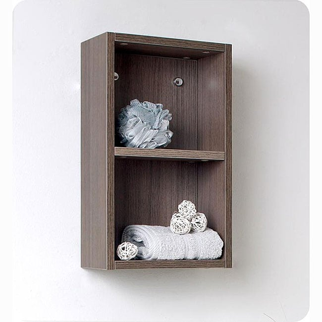 fresca grey oak open storage bathroom linen cabinet overstock