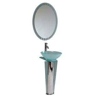 Fresca Vitale Modern Glass Bathroom Vanity with Mirror