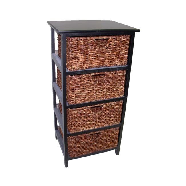 Compact Black Wood/ Maize 4-basket Storage Shelf