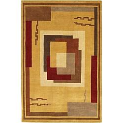 Geometric Hand-knotted Mandara Gold Wool Rug (5' x 7'6)