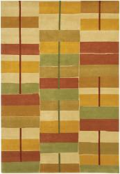Rectangle Pattern Hand-knotted Mandara Multicolor Wool Rug (5' x 7'6)