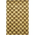 Patterned Hand-knotted Mandara Gold Wool Rug (5' x 7'6)