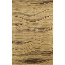 "Contemporary Hand-Knotted Mandara Brown Wool Rug (5' x 7'6"")"