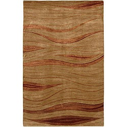 Hand-knotted Mandara Red Wool Rug (5' x 7'6)