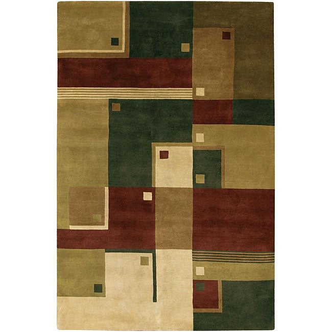 Artist's Loom Hand-knotted Contemporary Geometric Rug (5' x 7'6)