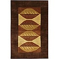 Hand-knotted Mandara Brown Wool Rug (5' x 7'6)