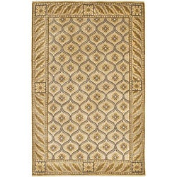 "Contemporary Hand-Knotted Mandara Ivory Wool Rug (5' x 7'6"")"