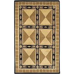 "Transitional Hand-Knotted Mandara Brown Wool Rug (5' x 7'6"")"