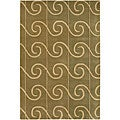 "Transitional Hand-Tufted Mandara Green Wool Rug (5' x 7'6"")"