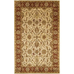 "Large Hand-Tufted Mandara Ivory New Zealand Wool Rug (5' x 7'6"")"