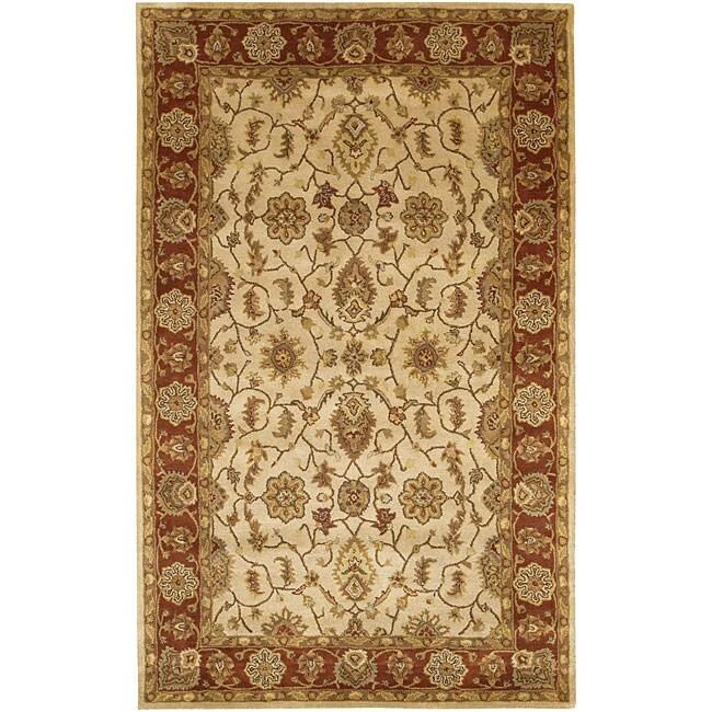 """Large Hand-Tufted Mandara Ivory New Zealand Wool Rug (5' x 7'6"""")"""