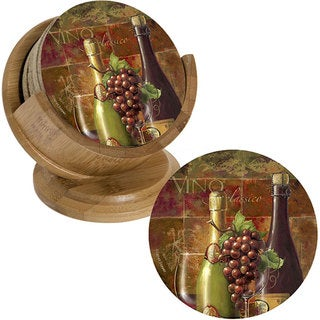 Thirstystone 'Classic Vino' Sandstone Coasters and Holder (Set of 4)