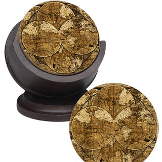 Thirstystone &#39;World Map&#39; Sandstone Coaster Set (Set of 4)