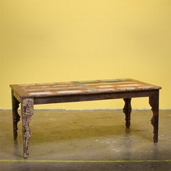 Reclaimed Wood Stripped 6-person Dining Table (India)