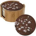Thirstystone 'Cherry Blossom' Sandstone Coasters and Holder (Set of 4)