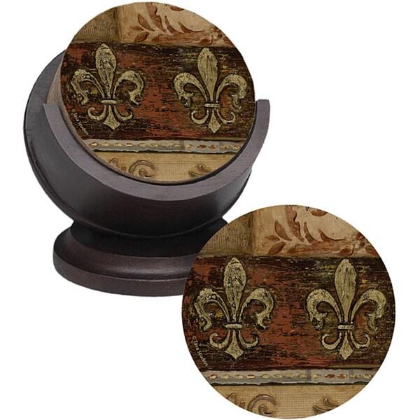 Thirstystone 'Dual Fleur de Lis' Sandstone Coasters (Set of 4)
