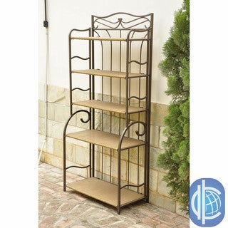 International Caravan Valencia Brown Resin Wicker/ Steel 5-tier Shelf