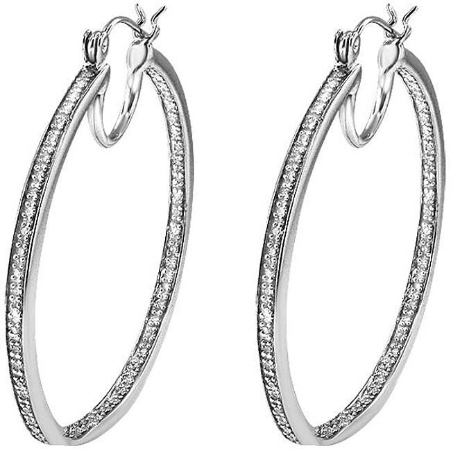 Sterling Silver 1/3ct TDW Diamond Hoop Earrings (H-I, I2-I3)