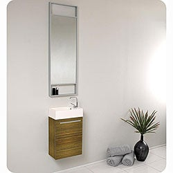 Fresca Pulito Zebra Stainless Steel Tall Mirror Bathroom Vanity