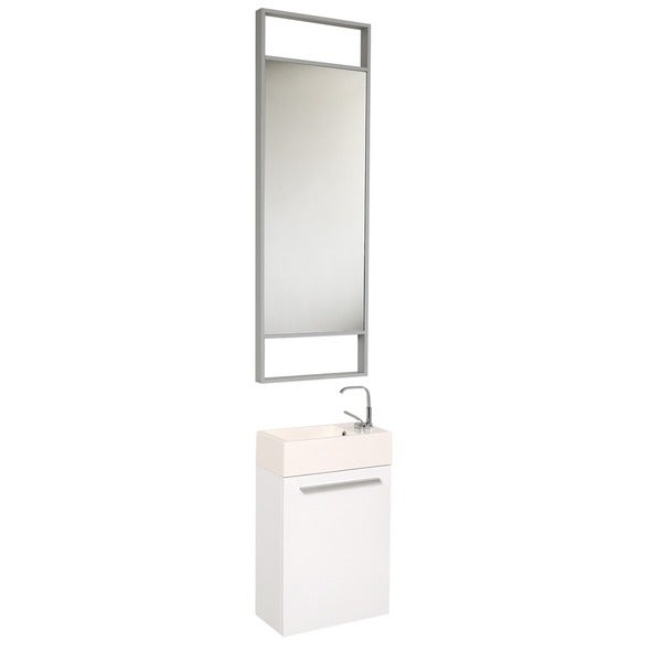 Fresca Pulito White Stainless Steel Tall Mirror Bathroom Vanity