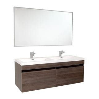 Fresca Largo Gray Oak Double Bathroom Vanity