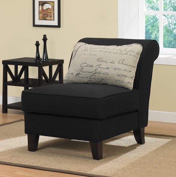 Black Linen Slipper Chair with Signature Pillow