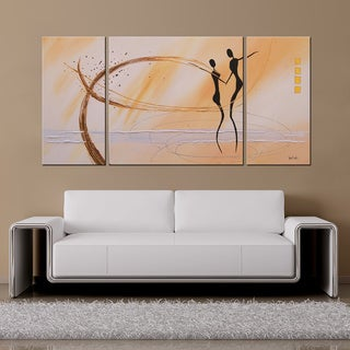 'Dancing in the Wind' Hand-painted 3-piece Canvas Art Set