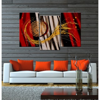'Wings of Sun' Hand-painted 3-piece Canvas Art Set