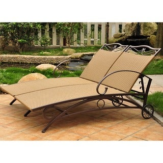 International Caravan Valencia Resin Wicker/ Steel Frame Multi-position Double Chaise Lounge