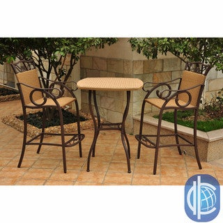 International Caravan Valencia Resin Wicker/ Steel 3-piece Bar-height Bistro Chair and Table Set