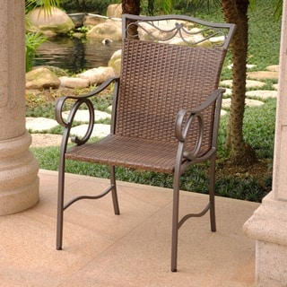 International Caravan Valencia Resin Wicker/ Steel Dining Chairs (Set of 2)