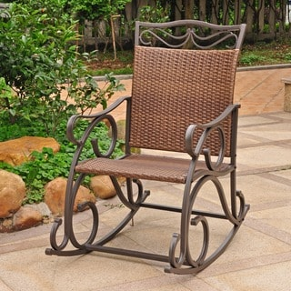 International Caravan Valencia Resin Wicker/ Steel Frame Rocking Chair