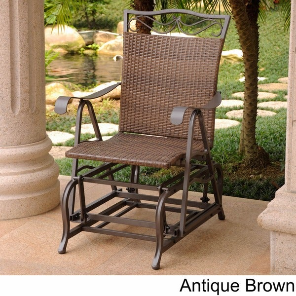 International Caravan Valencia Resin Wicker/ Steel Frame Single Glider Chair