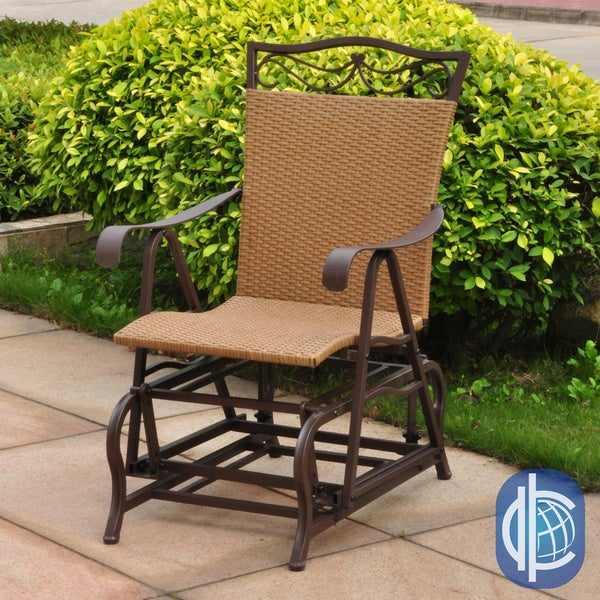 about resin wicker steel frame single glider chair patio furniture