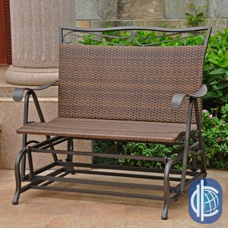International Caravan Valencia Resin Wicker/ Steel Frame Double Glider Chair