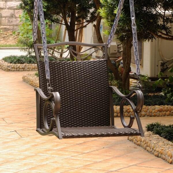 International Caravan Valencia Resin Wicker/ Steel Frame Hanging Single Chair Swing