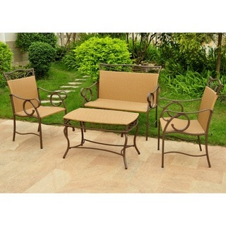 International Caravan Valencia Resin Wicker/ Steel 4-piece Outdoor Table Set