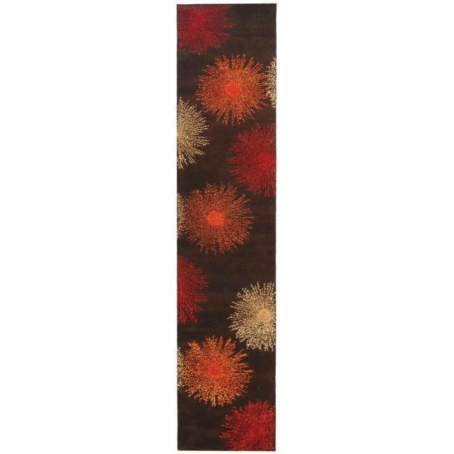 Safavieh Handmade Soho Burst Brown New Zealand Wool Runner (2'6 x 6')