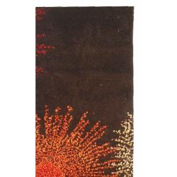 Handmade Soho Burst Brown New Zealand Wool Runner (2'6 x 6')