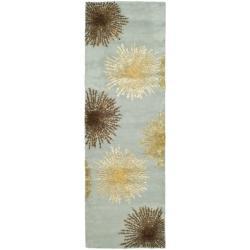 Handmade Soho Burst Blue New Zealand Wool Runner (2'6 x 14')