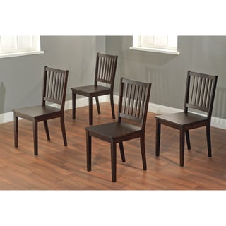 Slat Espresso Rubberwood Dining Chairs (Set of 4)
