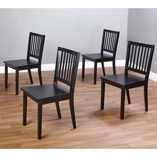 Simple Living Slat Black Rubberwood Dining Chairs (Set of 4)