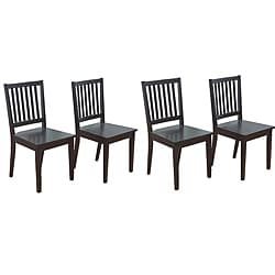 Slat Black Rubberwood Dining Chairs (Set of 4)